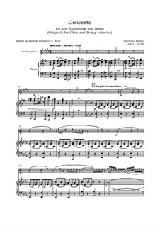 Concerto for Oboe and Strings: Version for alto saxophone and piano by Vincenzo Bellini
