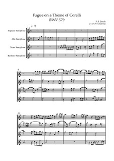 Fugue in B Minor, BWV 579: For saxophone quartet by Johann Sebastian Bach