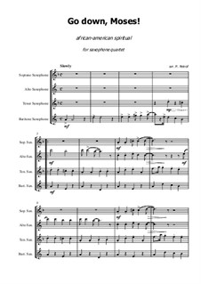 Go Down Moses: For saxophone quartet - score and parts by folklore