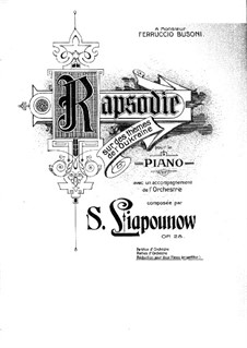 Rhapsody on Ukrainian Themes, Op.28: For two pianos four hands by Sergei Lyapunov