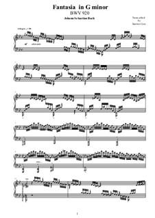 Fantasia in G Minor, BWV 920: For piano by Johann Sebastian Bach
