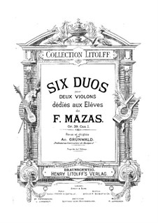 Six Duets for Two Violins, Op.39: Six Duets for Two Violins by Jacques Féréol Mazas
