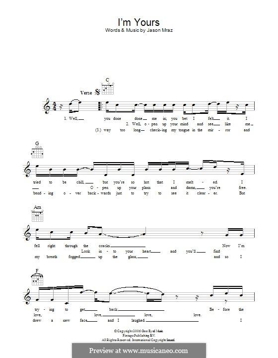 I'm Yours: Lyrics and chords by Jason Mraz
