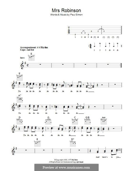 Mrs. Robinson (Simon & Garfunkel) by P. Simon - sheet music on MusicaNeo