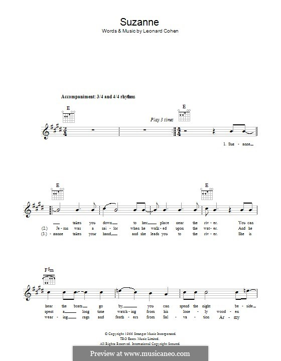 Suzanne: Lyrics and chords by Leonard Cohen