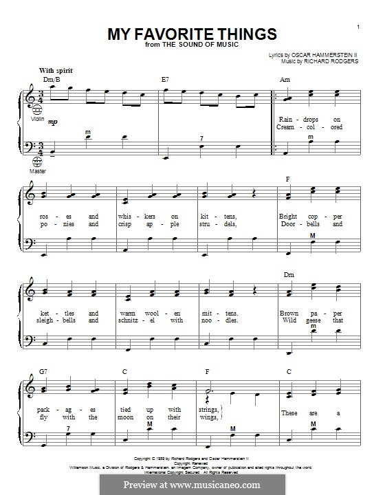My Favorite Things (from The Sound of Music): For accordion by Richard Rodgers