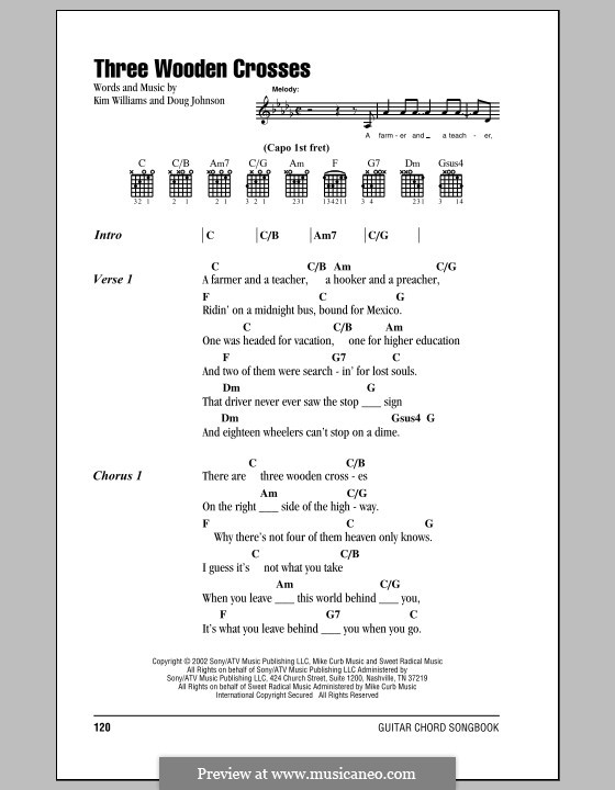 Three Wooden Crosses by D. Johnson, K. Williams - sheet music on ...