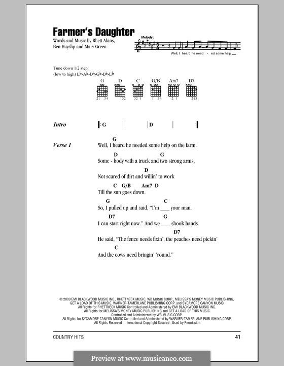 Farmer's Daughter (Rodney Atkins): Lyrics and chords by Ben Hayslip, Marv Green, Rhett Akins
