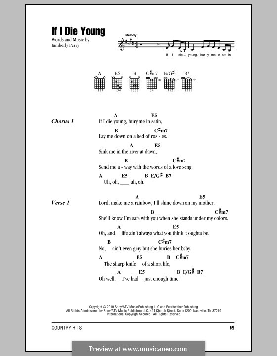 If I Die Young (The Band Perry) by K. Perry - sheet music on MusicaNeo