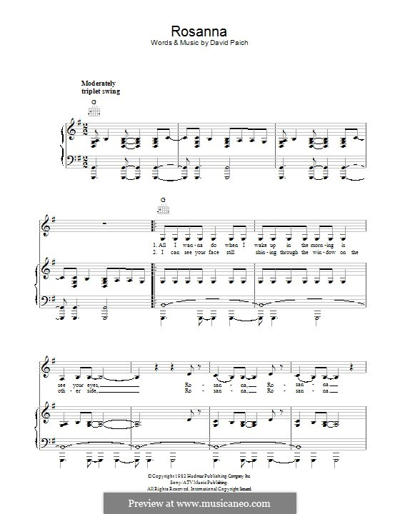 Rosanna (Toto): For voice and piano (or guitar) by David Paich