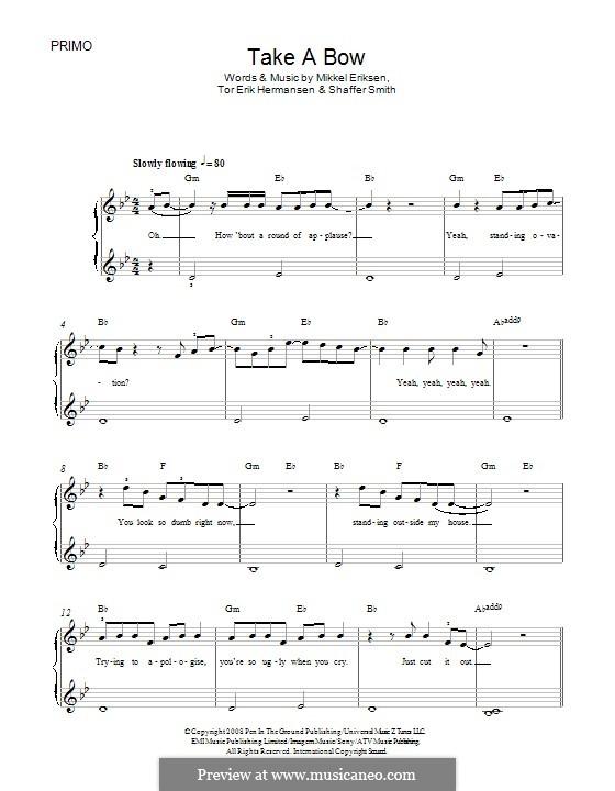 Take a Bow (Rihanna): For piano by Mikkel Storleer Eriksen, Ne-Yo, Tor Erik Hermansen
