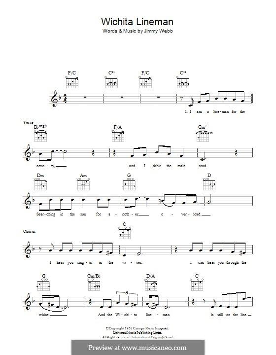 Wichita Lineman By J Webb Sheet Music On Musicaneo