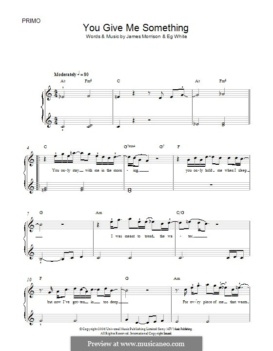 You Give Me Something: For piano by Eg White, James Morrison