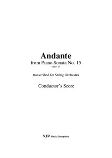 Sonata for Piano No.15 'Pastoral', Op.28: Andante, arranged for string orchestra – score, parts by Ludwig van Beethoven