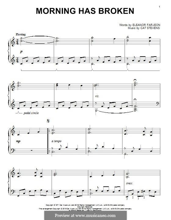 Morning Has Broken: For piano by Cat Stevens