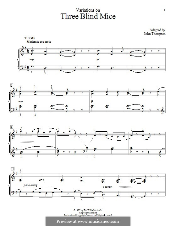 Three Blind Mice: Variations, for piano by folklore