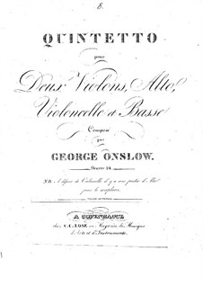 String Quintet No.8 in D Minor, Op.24: Parts by Georges Onslow