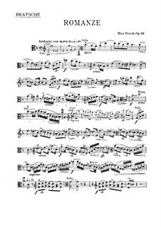 Romance for Viola and Orchestra, Op.85: Solo part by Max Bruch