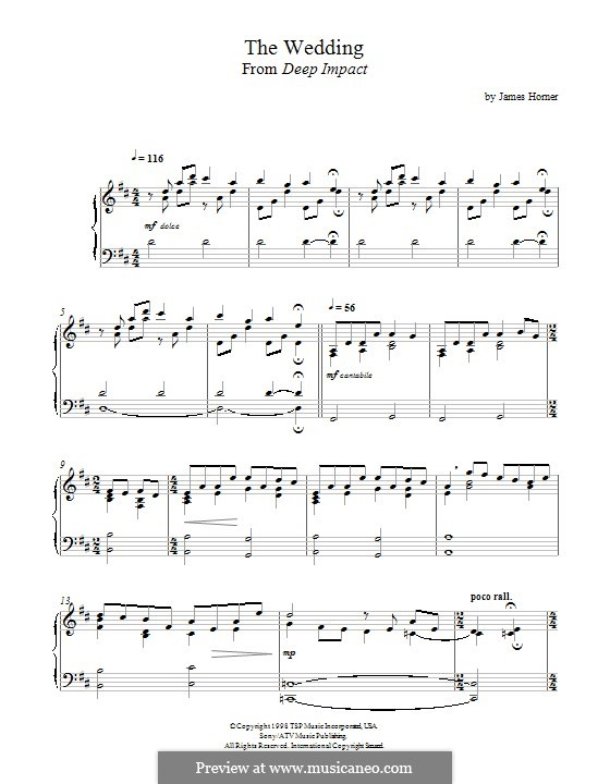 The Wedding (from 'Deep Impact'): For piano by James Horner
