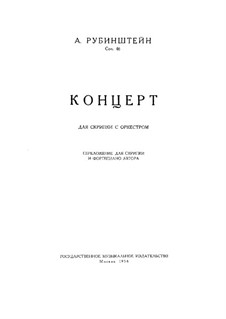 Concerto for Violin and Orchestra in G Major, Op.46: Version for violin and piano by Anton Rubinstein