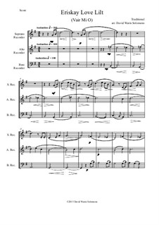 Eriskay love lilt (Vair Mio): For recorder trio by folklore