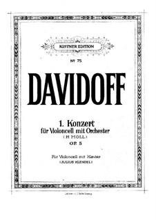 Cello Concerto No.1 in B Minor, Op.5: Score by Karl Julevich Davydov