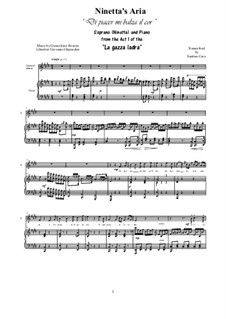 La gazza ladra (The Thieving Magpie): Di piacer mi balza il cor, for soprano and piano by Gioacchino Rossini