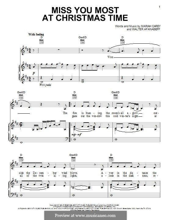 Miss You Most at Christmas Time (Mariah Carey): For voice and piano (or guitar) by Walter Afanasieff