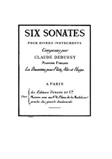 Sonata for Flute, Viola and Harp, L.137: Full score by Claude Debussy