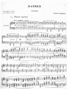 Two Dances for Harp and String Quintet, L.103: No.1 Danse sacrée, for Piano by Claude Debussy