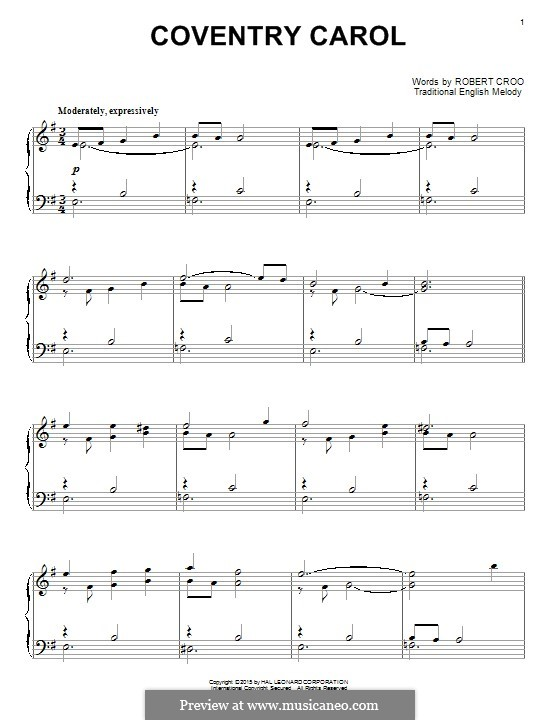 Coventry Carol: For piano by folklore