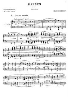 Two Dances for Harp and String Quintet, L.103: Version for Piano by Claude Debussy