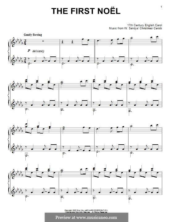 The First Nowell (The First Noël), for Piano: For a single performer by folklore