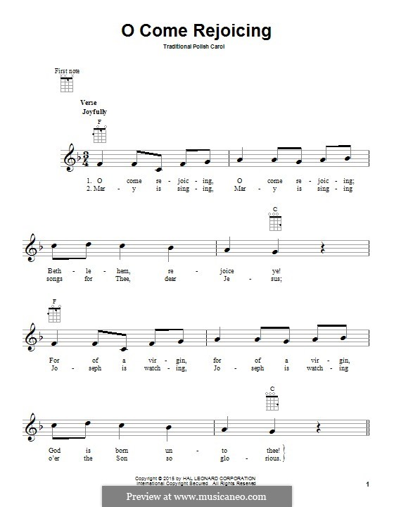 O Come Rejoicing: For ukulele by folklore