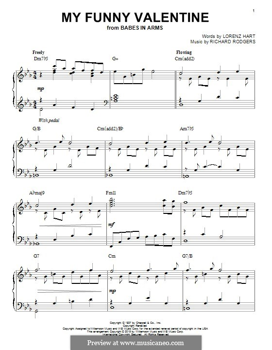 My Funny Valentine: For piano by Richard Rodgers