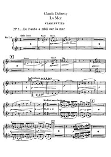 La mer (The Sea), L.109: Clarinet part by Claude Debussy