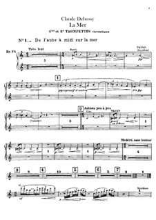 La mer (The Sea), L.109: Trumpets and cornets parts by Claude Debussy