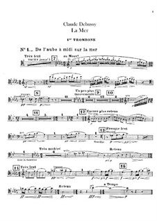 La mer (The Sea), L.109: Trombone and tuba parts by Claude Debussy