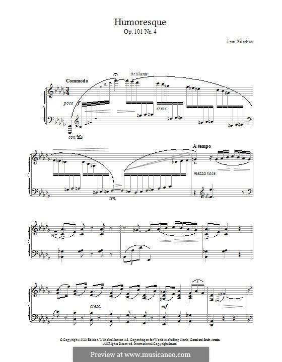 5 Morceaux Romantiques, Op.101: No.4 Humoresque by Jean Sibelius