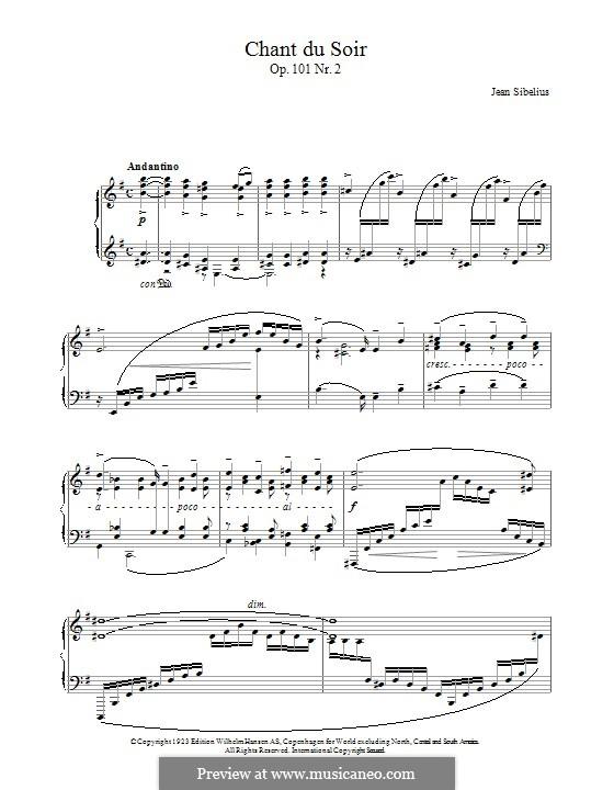 5 Morceaux Romantiques, Op.101: No.2 Chant Du Soir by Jean Sibelius