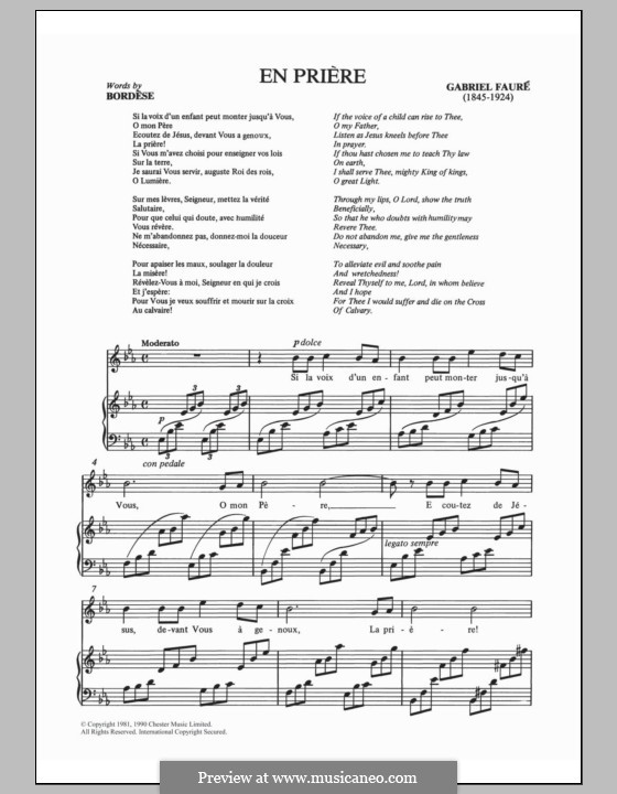 En prière: For voice and piano by Gabriel Fauré