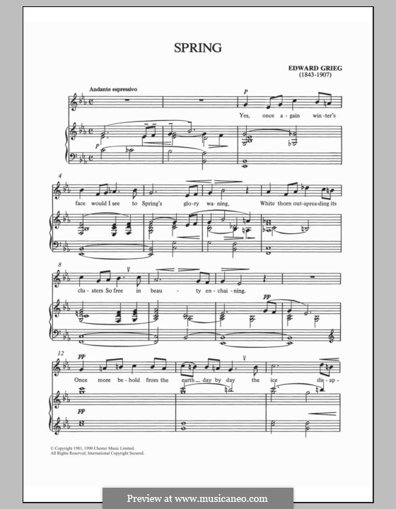 Lyric Pieces, Op.43: No.6 To Spring by Edvard Grieg