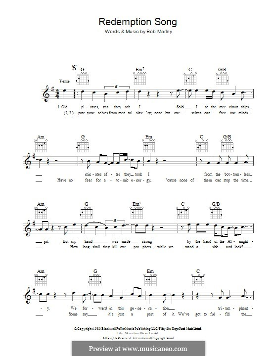 Redemption Song By B Marley Sheet Music On Musicaneo