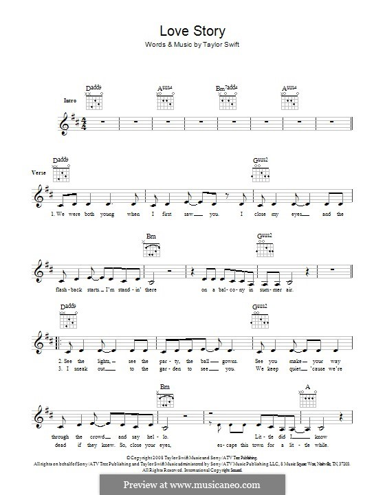 Love Story: Lyrics and chords by Taylor Swift