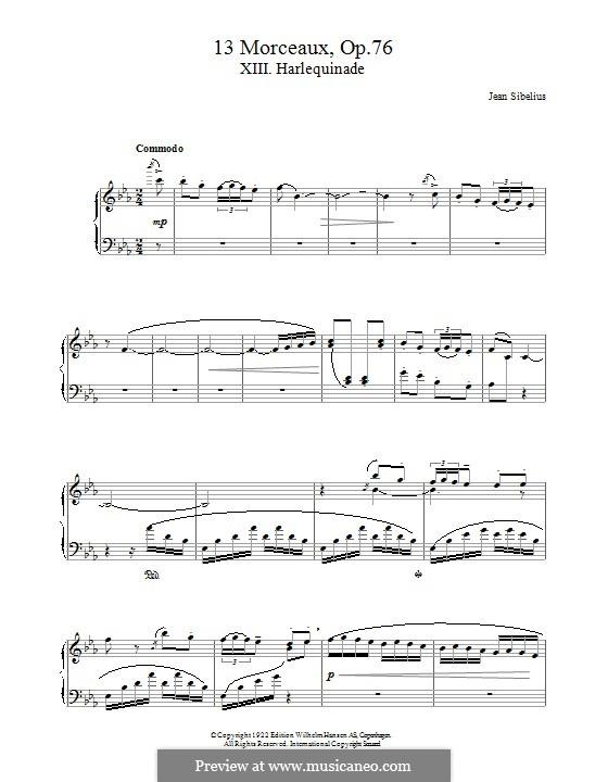 13 Morceaux, Op.76: No.13 Harlequinade by Jean Sibelius