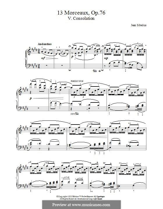 13 Morceaux, Op.76: No.5 Consolation by Jean Sibelius
