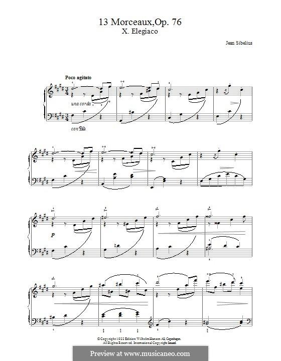13 Morceaux, Op.76: No.10 Elegiaco by Jean Sibelius