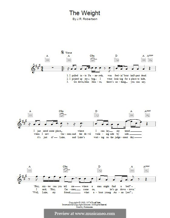 The Weight (The Band) by R. Robertson - sheet music on MusicaNeo