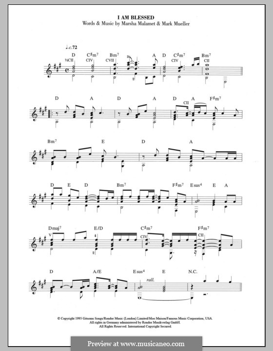 I am Blessed (Eternal): For guitar with tab by Mark Mueller, Marsha Malamet