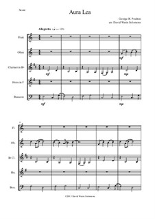 Aura Lee: For wind quintet by George R. Poulton